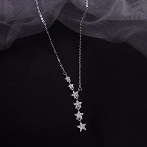 NEW 925 SILVER PLATED DIAMOND MULTI STAR NECKLACE
